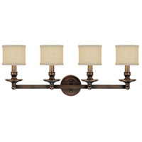 Midtown 4 Light 35 inch Burnished Bronze Vanity Wall Light in Light Tan Fabric Shade