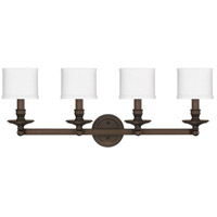 Midtown 4 Light 35 inch Burnished Bronze Vanity Wall Light in Decorative White Fabric Shade
