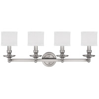Midtown 4 Light 35 inch Matte Nickel Vanity Wall Light in Decorative White Fabric Shade