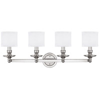 Midtown 4 Light 35 inch Polished Nickel Vanity Wall Light in Decorative White Fabric Shade