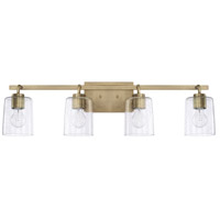 Greyson 4 Light 34 inch Aged Brass Bath Vanity Wall Light, HomePlace