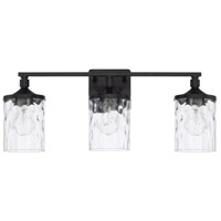 Colton 3 Light 24 inch Matte Black Bath Vanity Wall Light, HomePlace
