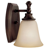 Belmont 1 Light 6 inch Burnished Bronze Sconce Wall Light in Mist Scavo Glass