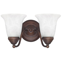 Signature 2 Light 11 inch Burnished Bronze Vanity Wall Light in White Faux Alabaster
