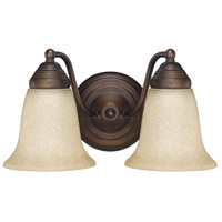 Signature 2 Light 11 inch Burnished Bronze Vanity Wall Light in Mist Scavo