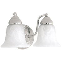 Signature 2 Light 11 inch Chrome Vanity Wall Light in White Faux Alabaster