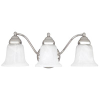 Signature 3 Light 18 inch Chrome Vanity Wall Light in White Faux Alabaster
