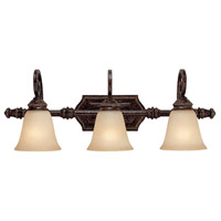 Barclay 3 Light 28 inch Chesterfield Brown Vanity Wall Light
