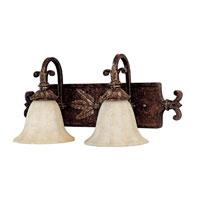 Capital Lighting Sheffield 2 Light Vanity in Chesterfield Brown with Rust Scavo Glass 1572CB-281