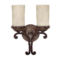 Capital Lighting Highlands 2 Light Sconce in Weather Brown with Rust Scavo Glass 1592WB-261