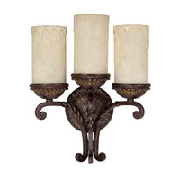 Capital Lighting Highlands 3 Light Sconce in Weather Brown with Rust Scavo Glass 1593WB-261