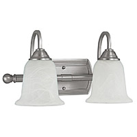 Capital Lighting Signature 2 Light Vanity in Matte Nickel with Faux White Alabaster Glass 1792MN-223