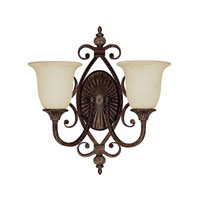 Capital Lighting Manchester 2 Light Sconce in Chesterfield Brown with Rust Scavo Glass 1879CB-294