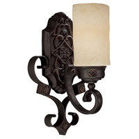 Capital Lighting River Crest 1 Light Sconce in Rustic Iron with Rust Scavo Glass 1906RI-125