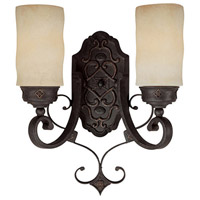 Capital Lighting River Crest 2 Light Sconce in Rustic Iron with Rust Scavo Glass 1907RI-125