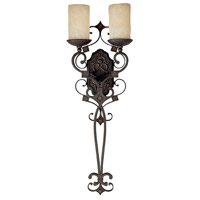 Capital Lighting River Crest 2 Light Sconce in Rustic Iron with Rust Scavo Glass 1909RI-125