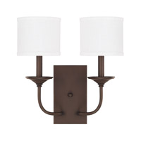 Loft 2 Light 14 inch Burnished Bronze Sconce Wall Light in White Fabric Shade