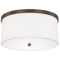 Midtown 3 Light 16 inch Burnished Bronze Ceiling Flush Ceiling Light in White Fabric Shade
