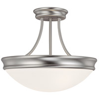 Capital Lighting Signature 3 Light Semi-Flush Mount in Matte Nickel with White Glass 2037MN