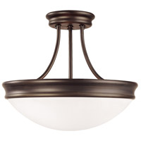 Signature 3 Light 14 inch Oil Rubbed Bronze Semi-Flush Ceiling Light