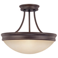 Signature 3 Light 14 inch Oil Rubbed Bronze Semi-Flush Mount Ceiling Light
