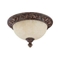Capital Lighting Seville 2 Light Flush Mount in Gilded Umber with Rust Scavo Glass 2173GU