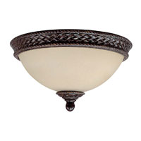 Capital Lighting Chatham 3 Light Flush Mount in Weather Brown with Mist Scavo Glass 2185WB