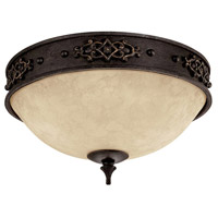 Capital Lighting River Crest 2 Light Flush Mount in Rustic Iron with Rust Scavo Glass 2283RI
