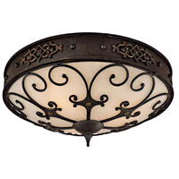 Capital Lighting River Crest 3 Light Flush Mount in Rustic Iron with Rust Scavo Glass 2287RI