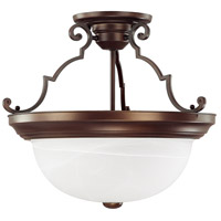 Capital Lighting Signature 3 Light Semi-Flush Mount in Burnished Bronze with White Faux Alabaster Glass 2717BB