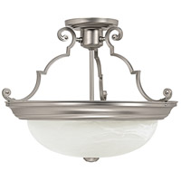 Capital Lighting Signature 3 Light Semi-Flush Mount in Matte Nickel with Faux White Alabaster Glass 2717MN