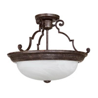 Capital Lighting Signature 3 Light Semi-Flush Mount in Tortoise with Faux White Alabaster Glass 2717TS