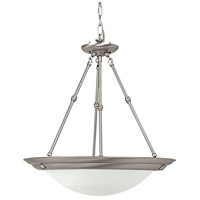 Signature 3 Light 20 inch Matte Nickel Pendant Ceiling Light in Incandescent, White Faux Alabaster