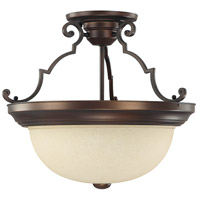 Signature 3 Light 15 inch Burnished Bronze Semi-Flush Mount Ceiling Light