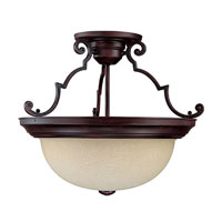 Capital Lighting Signature 3 Light Semi-Flush Mount in Mediterranean Bronze with Rust Scavo Glass 2747MBZ photo thumbnail