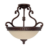 Capital Lighting Chatham 3 Light Semi-Flush Mount in Weather Brown with Mist Scavo Glass 3013WB