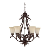 Capital Lighting Chatham 6 Light Chandelier in Weather Brown with Mist Scavo Glass 3016WB-252