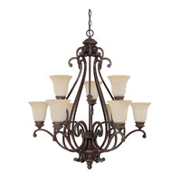 Capital Lighting Chatham 9 Light Chandelier in Weather Brown with Mist Scavo Glass 3019WB-252