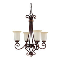Capital Lighting Cumberland 4 Light Chandelier in Burnished Bronze with Mist Scavo Glass 3024BB-251