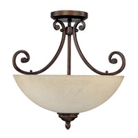 Capital Lighting Cumberland 3 Light Semi-Flush Mount in Burnished Bronze with Mist Scavo Glass 3025BB