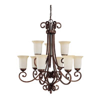 Capital Lighting Cumberland 9 Light Chandelier in Burnished Bronze with Mist Scavo Glass 3029BB-251