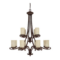 Capital Lighting Highlands 12 Light Chandelier in Weather Brown with Rust Scavo Glass 3032WB-261 photo thumbnail