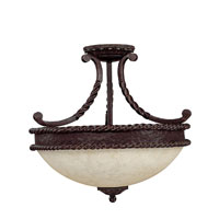 Capital Lighting Highlands 3 Light Semi-Flush Mount in Weather Brown with Rust Scavo Glass 3035WB