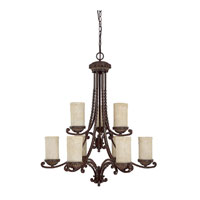 Capital Lighting Highlands 9 Light Chandelier in Weather Brown with Rust Scavo Glass 3039WB-261 photo thumbnail