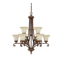 Capital Lighting Carlisle 9 Light Chandelier in Dark Spice with Rust Scavo Glass 3049DS-265 photo thumbnail