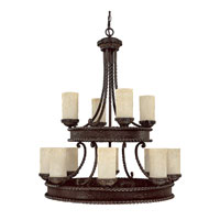 Capital Lighting Highlands 12 Light Chandelier in Weather Brown with Rust Scavo Glass 3052WB-261