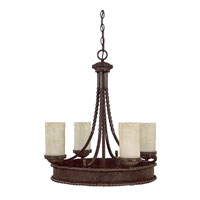 Capital Lighting Highlands 4 Light Chandelier in Weather Brown with Rust Scavo Glass 3054WB-261