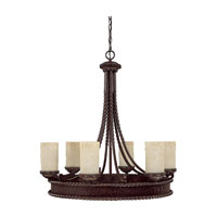Capital Lighting Highlands 6 Light Chandelier in Weather Brown with Rust Scavo Glass 3056WB-261