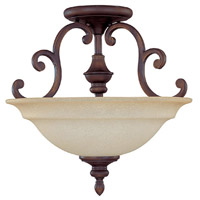 Chandler 3 Light 16 inch Burnished Bronze Semi-Flush Mount Ceiling Light in Mist Scavo