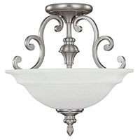 Chandler 3 Light 16 inch Matte Nickel Semi-Flush Mount Ceiling Light in White Faux Alabaster